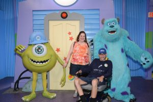 Meeting Monsters Inc Sully and Mike. Ben LOVED Sully!